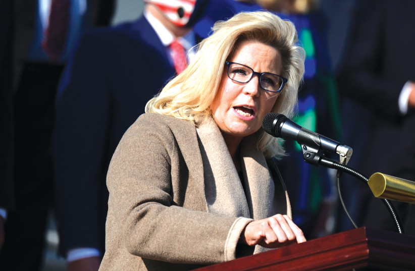 US REP. Liz Cheney (R-Wyoming) speaks during a news conference in Washington, DC, last year. (photo credit: ERIN SCOTT/REUTERS)