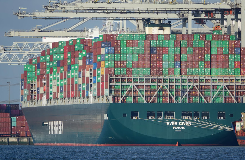 THE 'EVER GIVEN' container ship became lodged in the Suez Canal, blocking maritime traffic for almost a week. (photo credit: PIERRE MARKUSE/FLICKR)