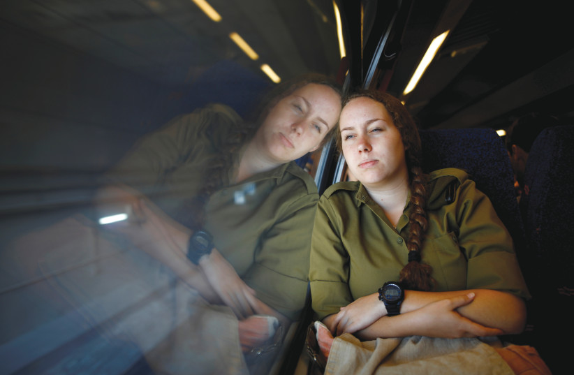 Traveling on the high-speed rail line from Ben-Gurion Airport to Jerusalem (photo credit: AMIR COHEN/REUTERS)
