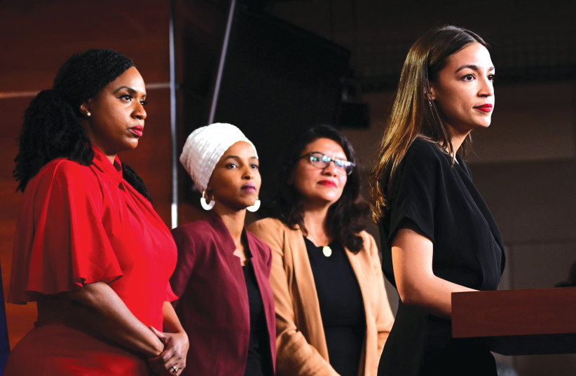 US REPS. (from left) Ayanna Pressley, Ilhan Omar, Rashida Tlaib and Alexandria Ocasio-Cortez, four members of 'the Squad,' have made a name for themselves in their bashing of Israel over the last few years. (photo credit: ERIN SCOTT/REUTERS)