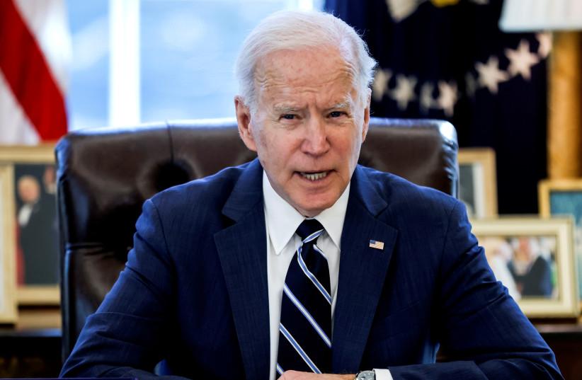 O PRESIDENTE DOS EUA, Joe Biden, fala no Salão Oval da Casa Branca, na última terça-feira.  (crédito da foto: TOM BRENNER / REUTERS)