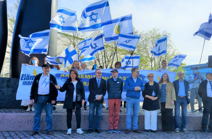 People gathered in Helsinki this week to demonstrate in support of Israel as Operation Guardians of the Walls stretches into its second week. (photo credit: Courtesy)