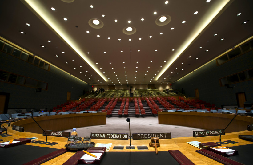 The Security Council chamber is seen from behind the council president's chair at the United Nations headquarters in New York City, September 18, 2015 (photo credit: REUTERS/MIKE SEGAR/FILE PHOTO)