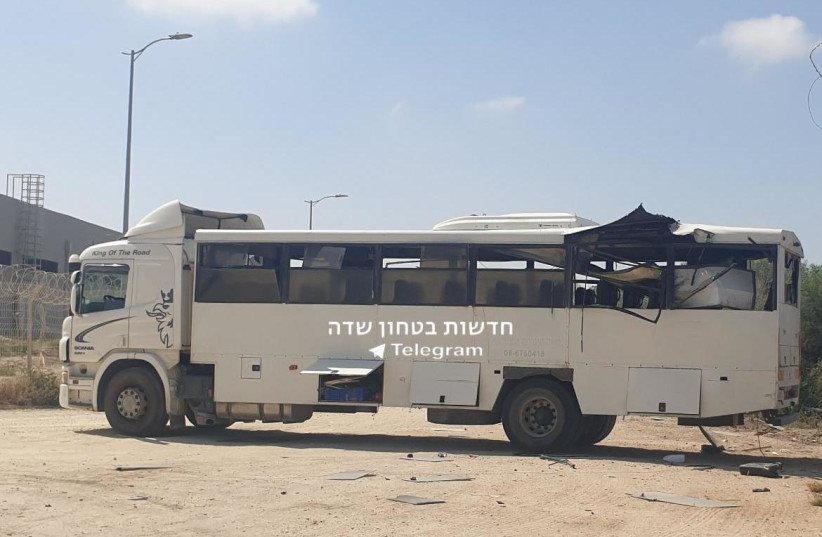 Hamas targets IDF bus with anti-tank missile, soldier lightly injured