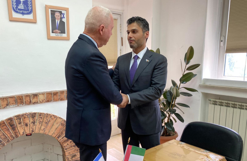 Education Minister Yoav Gallant and UAE Ambassador to Israel Mohammed Mahmoud Al-Khaja meet in Jerusalem and agree on promoting educational programs between the countries, Sunday, May 30, 2021. (photo credit: EDUCATION MINISTRY)