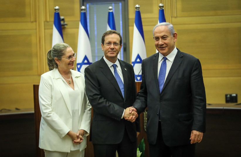 President-elect Isaac Herzog and his wife Michal with Prime Minister Benjamin Netanyahu. (photo credit: NOAM MOSKOVITZ/KNESSET)
