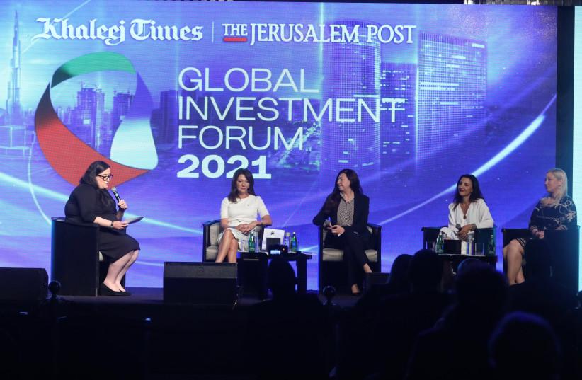 Global Investment Forum Women's Panel: Marcy Grossman, Fleur Hassan-Nahoum, Houda Nonoo, Ruth Wasserman-Lande, and Arielle Steinreich. (photo credit: MARC ISRAEL SELLEM/THE JERUSALEM POST)