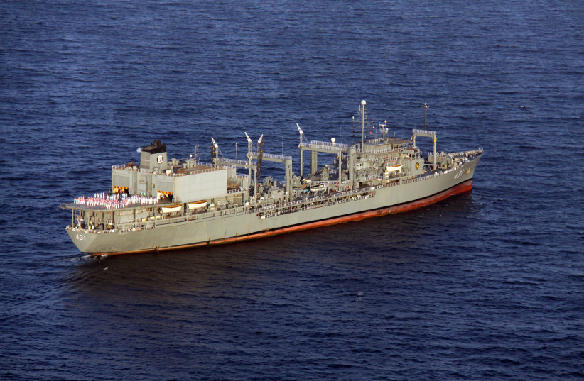 The Iranian ship Khark is seen at an undisclosed location in Iran, March 10, 2011. (photo credit: IRANIAN ARMY/WANA/REUTERS)