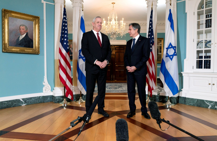 US Secretary of State Antony Blinken meets with Israel's Defense Minister Benny Gantz, at the State Department in Washington, US, June 3, 2021. (photo credit: JACQUELYN MARTIN / POOL / REUTERS)