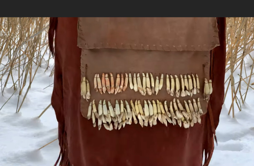 A YouTube screenshot of Stone Age-style elk tooth ornaments believed to have been worn for dancing (photo credit: YOUTUBE SCREENSHOT)