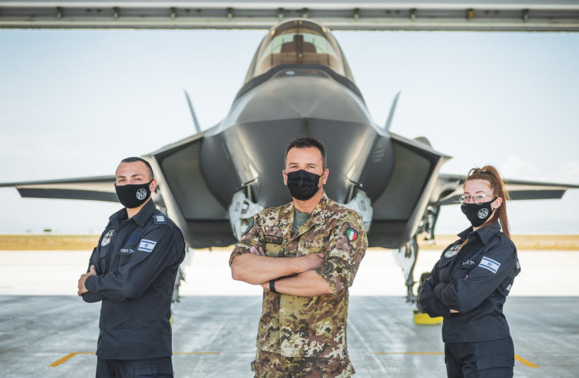 IDF F-35s deployed for large-scale drill in Italy, June, 2021 (photo credit: IDF SPOKESPERSON'S UNIT)