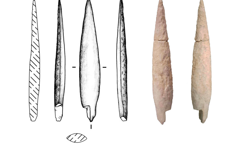 Drawings and photographs of the bone arrowhead from Area M in Tell es-Sâfi/Gath. (photo credit: COURTESY OF THE TELL ES-SÂFI/GATH ARCHAEOLOGICAL PROJECT)