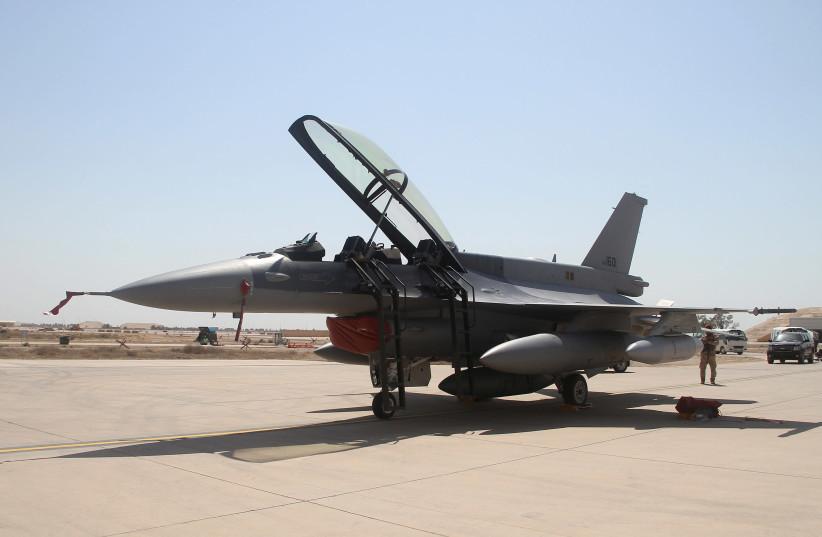 US F-16 fighter jet arrives at a military base in Balad, north of Baghdad July 13, 2015.  (photo credit: REUTERS/STRINGER)