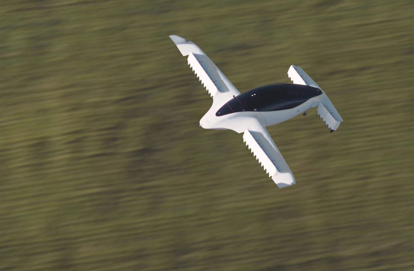 A handout picture from Munich flying taxi startup Lilium shows its five-seater prototype (photo credit: REUTERS)