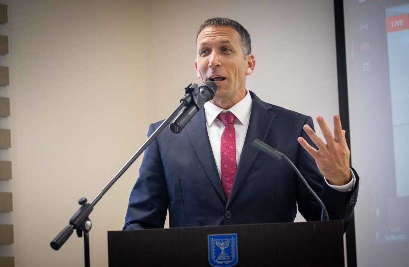 Religious Services Minister Matan Kahana (Yamina) is seen speaking at the transition ceremony where he replaces now former minister Yaakov Avitan, on June 14, 2021. (credit: YONATAN SINDEL/FLASH90)