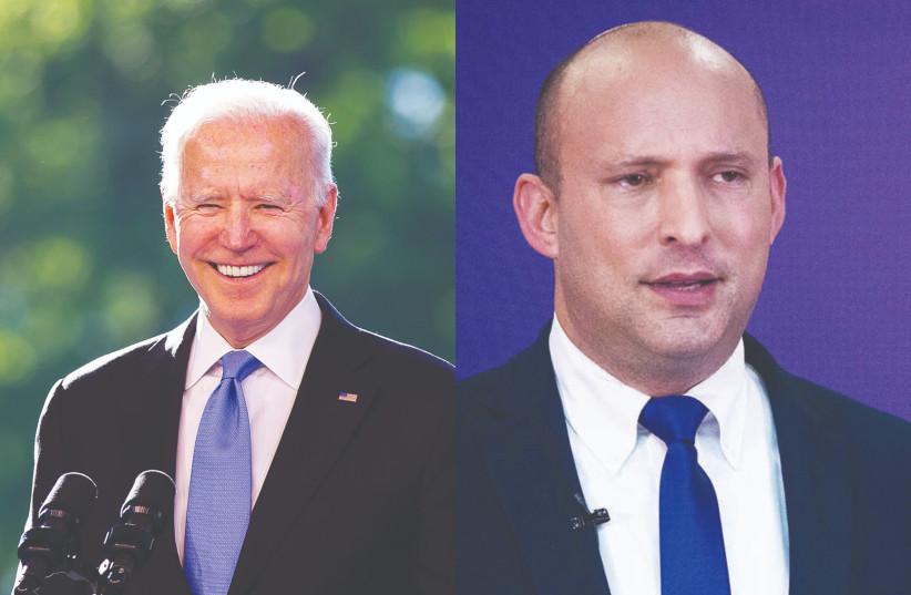 Le président Joe Biden et le Premier ministre Naftali Bennett.  (Crédit photo : PETER KLAUNZER/REUTERS/YONATAN SINDEL/FLASH90)