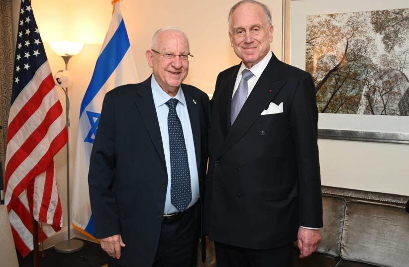 World Jewish Congress President Ronald S. Lauder met privately with Israeli President Reuven Rivlin in New York on 27 June 2021 (credit: SHAHAR AZRAN / WJC)
