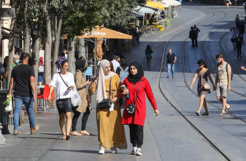 People seen walking on Jaffa Street in Jerusalem (credit: MARC ISRAEL SELLEM)