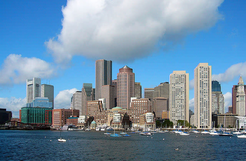 Skyline of Boston. Picture was taken from a whale watching ferry that left from the aquarium dock. It is the Eastern side of the Boston peninsula. (photo credit: Wikimedia Commons)