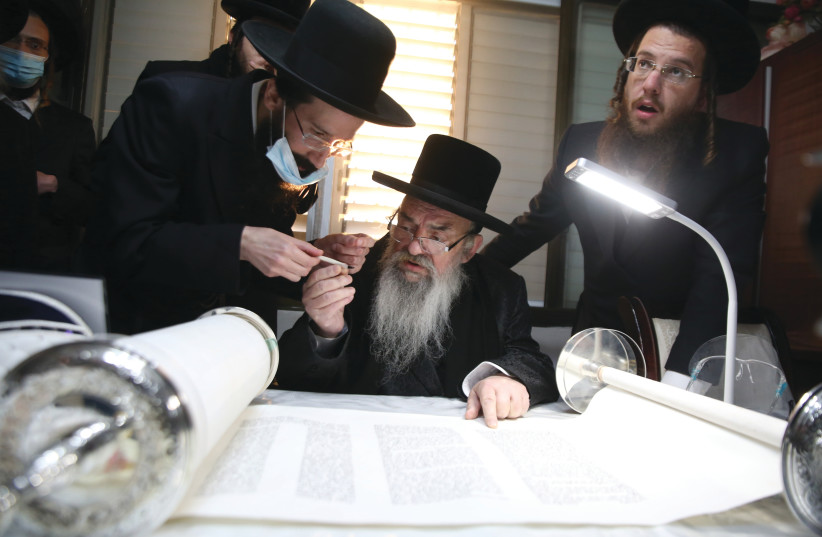 CELEBRATING A  new Torah scroll at the Lvov synagogue in Safed.  (credit: DAVID COHEN/FLASH 90)