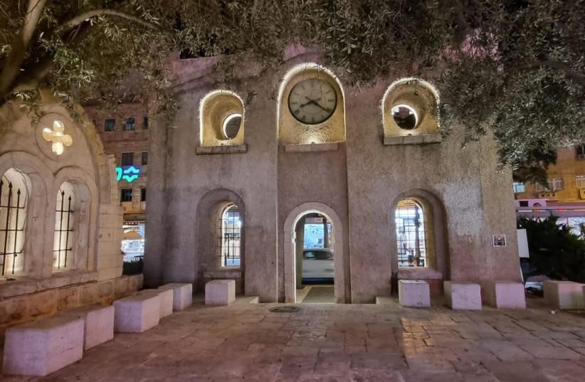 The facade of the Talitha Kumi building lit up (photo credit: JERUSALEM MUNICIPALITY)