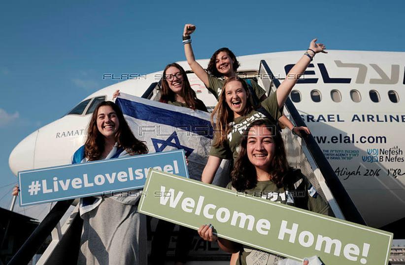 A group makes aliyah (credit: TOMER NEUBERG/FLASH90)