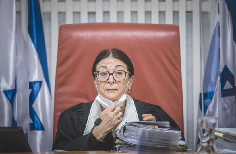 SUPREME COURT President Esther Hayut arrives to petitions against the Jewish Nation-State Law, at the Supreme Court in Jerusalem in December 2020. (photo credit: YONATAN SINDEL/FLASH90)