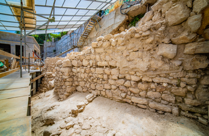 The section of the wall that was exposed. (photo credit: KOBI HARATI/CITY OF DAVID)
