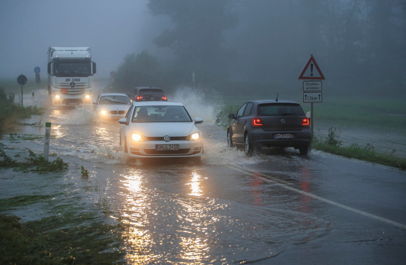 Heavy rain floods West Germany (photo credit: REUTERS)