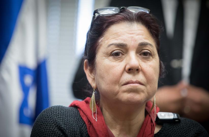 Ilana Rada, mother of Tair Rada attends a faction meeting of Yisrael Beytenu party in 2018 (credit: NOAM REVKIN FENTON/FLASH90)