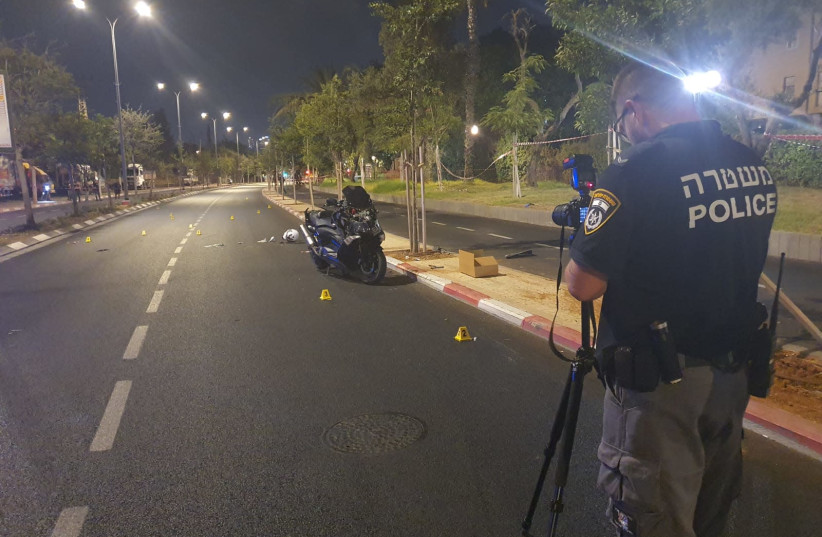 The scene in Jaffa where Izzat Hamed was killed on Saturday evening, July 18, 2021 (photo credit: ISRAEL POLICE)