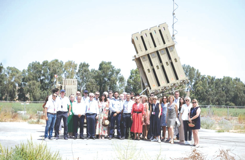 FRENCH PARLIAMENTARY delegation at an iron dome site in the south (photo credit: HANAN BAR ASSOULINE)