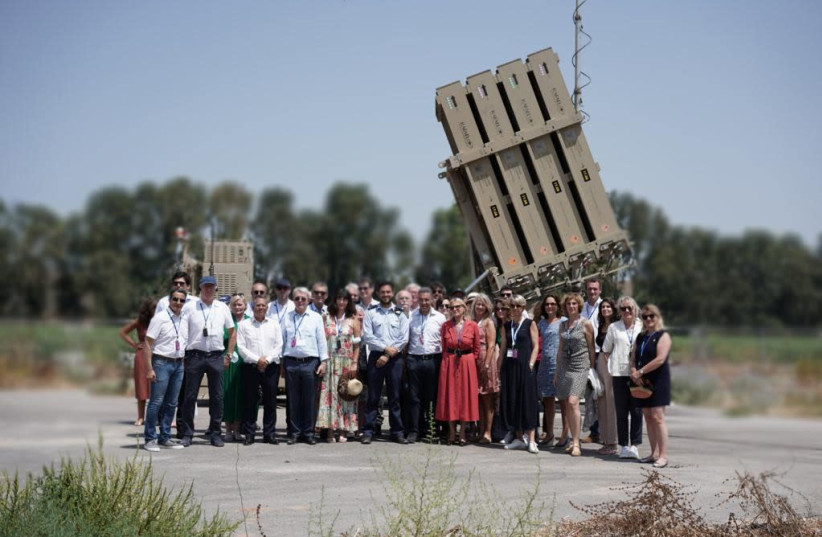 Members of the French National Assembly and Senate visit Israel's South to see the Iron Dome aerial defense system, Jul. 19, 2021. (photo credit: HANAN BAR ASSOULINE)