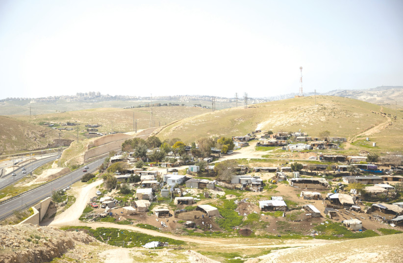 THE BEDOUIN village Khan al-Ahmar (photo credit: YONATAN SINDEL/FLASH 90)