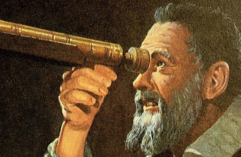 Illustative photo of Galileo Galilei refracting through a telescope.  (photo credit: THE GALILEO PROJECT)