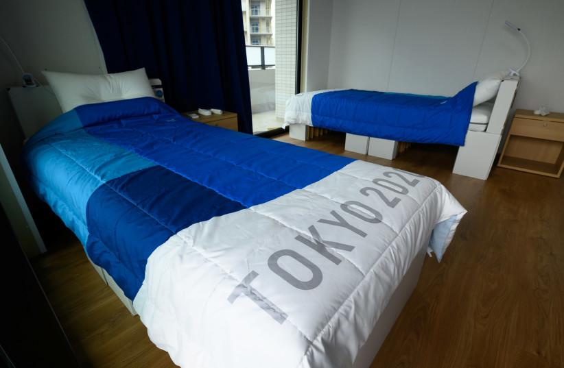 เตียงในหมู่บ้านโอลิมปิกในโตเกียว (เครดิตภาพ: REUTERS)