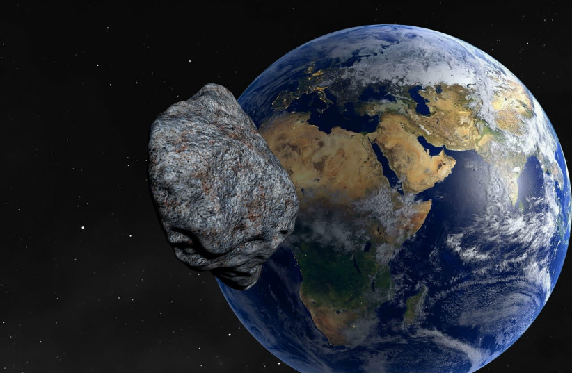 An asteroid is seen approaching Earth (illustrative). (photo credit: PIXABAY)