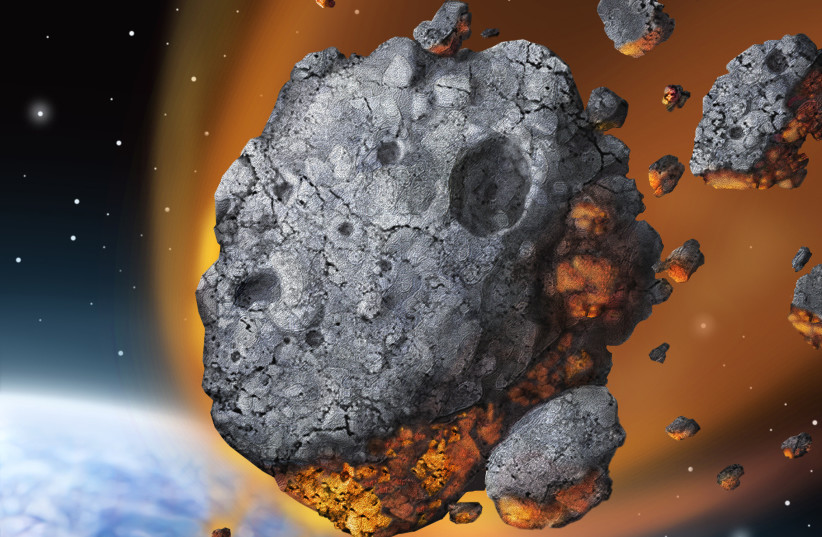 An asteroid is seen falling to Earth, breaking apart in the atmosphere (illustrative). (credit: Wikimedia Commons)