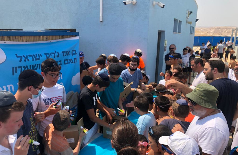 Mitzpeh Yericho holds Ben & Jerry's ice cream party for settlement's children, July 2021 (credit: Courtesy)