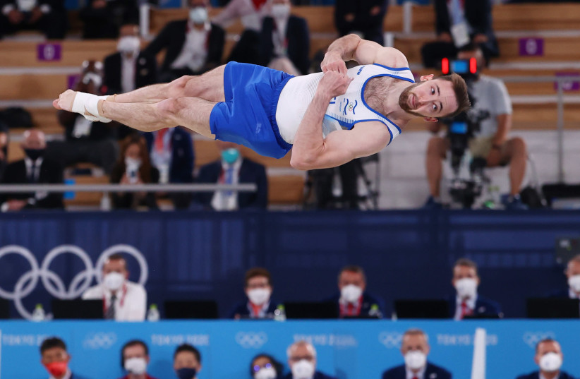 Tokyo 2020 Olympics - Gymnastics - Artistic - Men's Floor Exercise - Final - Ariake Gymnastics Centre, Tokyo, Japan - August 1, 2021. Artem Dolgopyat of Israel in action during the floor exercise. REUTERS/Lindsey Wasson (photo credit: LINDSEY WASSON/REUTERS)