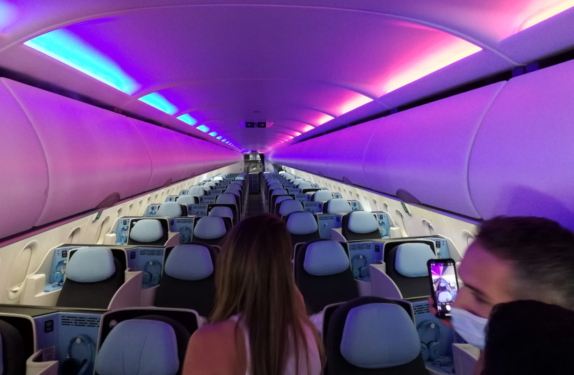 La Compagnie's new flight to Paris and New York features business-class seating throughout the plane. (photo credit: ZEV STUB)