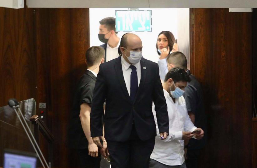 PRIME MINISTER Naftali Bennett entering Knesset meeting, August 2, 2021 (photo credit: MARC ISRAEL SELLEM)