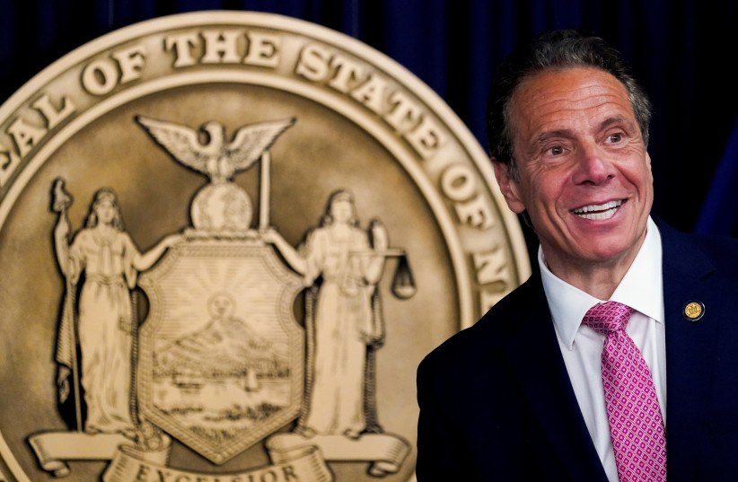 New York Governor Andrew Cuomo speaks during a news conference, in New York, U.S., May 10, 2021. (credit: REUTERS)
