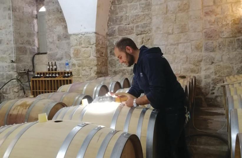 FADI BATARSEH, winemaker of Cremisan Wine Estate, checks the barrels. (photographer: CREMISAN WINERY)