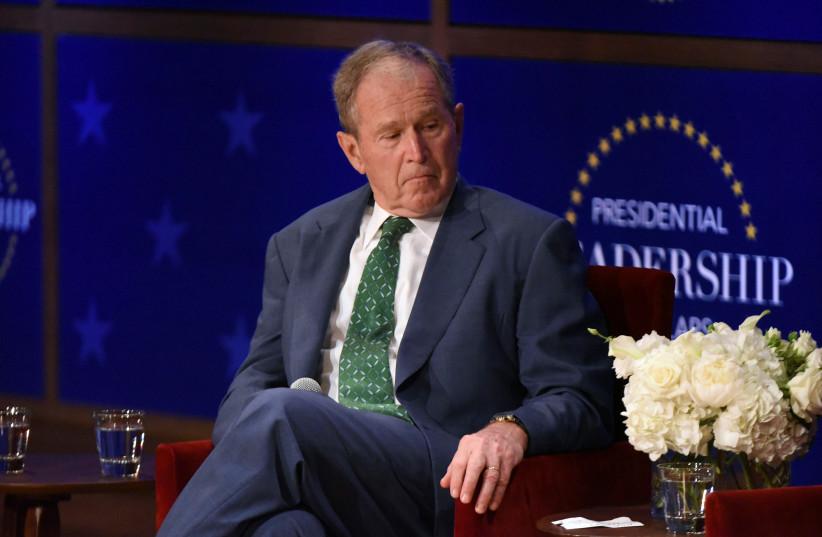 Former US President George W. Bush speaks at the George W. Bush Presidential Center in Dallas (photo credit: REUTERS)