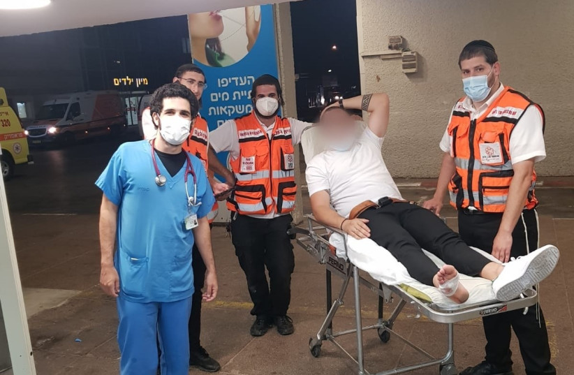 A groom after being released from the hospital (photo credit: UNITED HATZALAH)