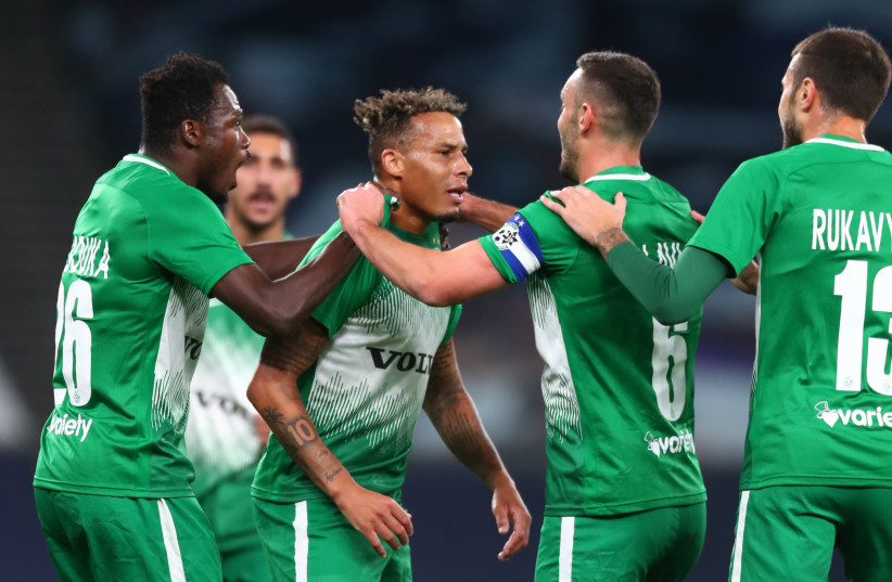 TJARRON CHERY (center) and Maccabi Haifa will look to continue their impressive early run in the the Conference league with a first-leg play-off round duel Neftchi Baku tonight in Azerbaijan. (credit: REUTERS)