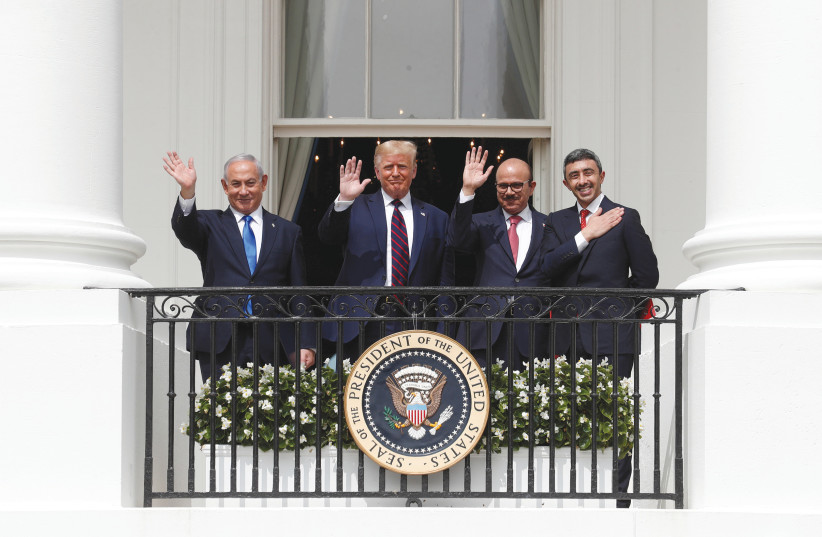 THE SIGNING CEREMONY for the Abraham Accords at the White House in September 2020. (credit: TOM BRENNER/REUTERS)