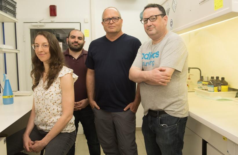Left to right: Yifat Piekner, Dr. Daniel Grave, Prof. Avner Rothschild, Dr. David Ellis (credit: RAMI SHLUSH / TECHNION)