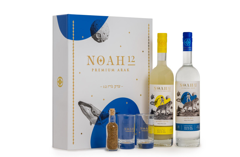 NOAH 12, the premium arak, which is a joint partnership between Tempo's Masterpiece Team and comedian Tzion Baruch (photo credit: SHUKA COHEN)